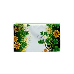 Flower Shamrock Green Gold Cosmetic Bag (xs) by Mariart