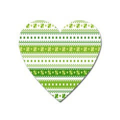 Flower Floral Green Shamrock Heart Magnet by Mariart