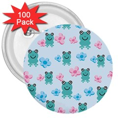 Frog Green Pink Flower 3  Buttons (100 Pack)  by Mariart