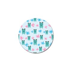 Frog Green Pink Flower Golf Ball Marker (4 Pack) by Mariart
