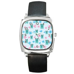 Frog Green Pink Flower Square Metal Watch by Mariart