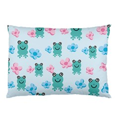 Frog Green Pink Flower Pillow Case by Mariart