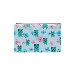 Frog Green Pink Flower Cosmetic Bag (small)  by Mariart
