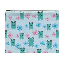 Frog Green Pink Flower Cosmetic Bag (xl) by Mariart