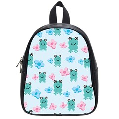 Frog Green Pink Flower School Bags (small)  by Mariart