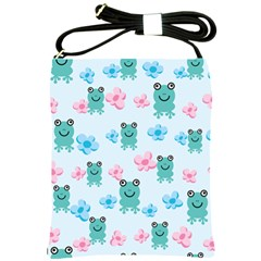 Frog Green Pink Flower Shoulder Sling Bags by Mariart