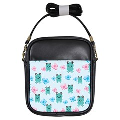 Frog Green Pink Flower Girls Sling Bags by Mariart