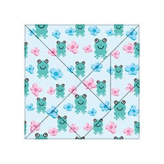 Frog Green Pink Flower Acrylic Tangram Puzzle (4  X 4 ) by Mariart