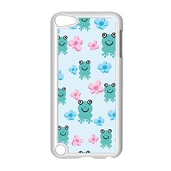 Frog Green Pink Flower Apple Ipod Touch 5 Case (white) by Mariart
