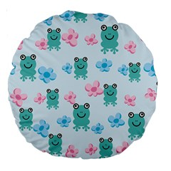 Frog Green Pink Flower Large 18  Premium Round Cushions by Mariart