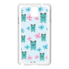 Frog Green Pink Flower Samsung Galaxy Note 3 N9005 Case (White)