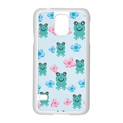 Frog Green Pink Flower Samsung Galaxy S5 Case (white) by Mariart