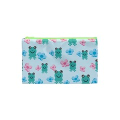 Frog Green Pink Flower Cosmetic Bag (xs) by Mariart