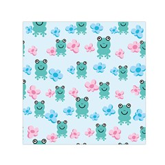 Frog Green Pink Flower Small Satin Scarf (square) by Mariart