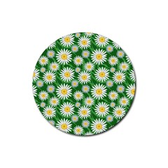 Flower Sunflower Yellow Green Leaf White Rubber Round Coaster (4 Pack)  by Mariart