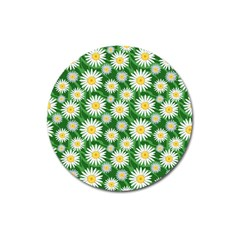 Flower Sunflower Yellow Green Leaf White Magnet 3  (round) by Mariart