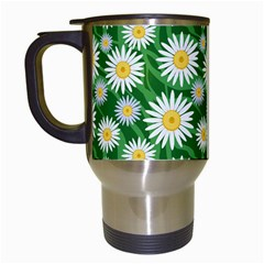 Flower Sunflower Yellow Green Leaf White Travel Mugs (white) by Mariart