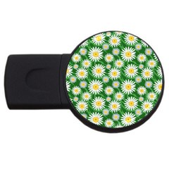 Flower Sunflower Yellow Green Leaf White Usb Flash Drive Round (4 Gb) by Mariart