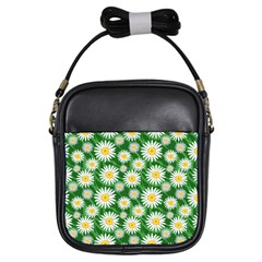 Flower Sunflower Yellow Green Leaf White Girls Sling Bags by Mariart
