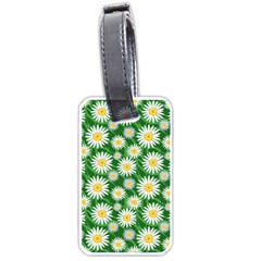 Flower Sunflower Yellow Green Leaf White Luggage Tags (two Sides) by Mariart