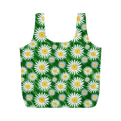 Flower Sunflower Yellow Green Leaf White Full Print Recycle Bags (m)  by Mariart