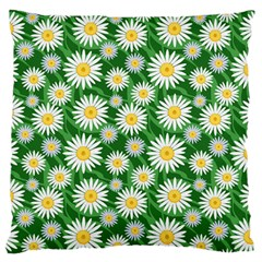 Flower Sunflower Yellow Green Leaf White Standard Flano Cushion Case (two Sides)