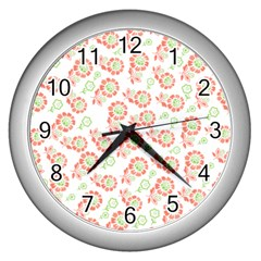 Flower Floral Red Star Sunflower Wall Clocks (silver)  by Mariart