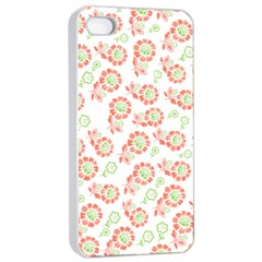 Flower Floral Red Star Sunflower Apple Iphone 4/4s Seamless Case (white) by Mariart