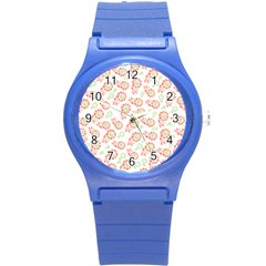 Flower Floral Red Star Sunflower Round Plastic Sport Watch (s) by Mariart