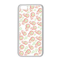 Flower Floral Red Star Sunflower Apple Iphone 5c Seamless Case (white) by Mariart
