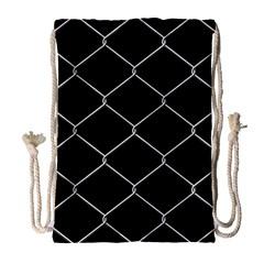 Iron Wire White Black Drawstring Bag (large) by Mariart