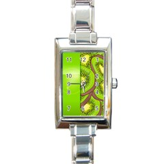 Fruit Slice Kiwi Green Rectangle Italian Charm Watch by Mariart