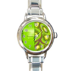 Fruit Slice Kiwi Green Round Italian Charm Watch by Mariart