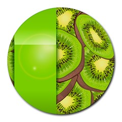 Fruit Slice Kiwi Green Round Mousepads by Mariart