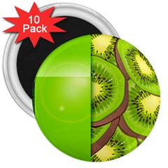 Fruit Slice Kiwi Green 3  Magnets (10 Pack)  by Mariart