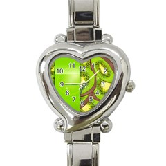 Fruit Slice Kiwi Green Heart Italian Charm Watch by Mariart