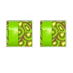 Fruit Slice Kiwi Green Cufflinks (square) by Mariart
