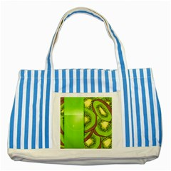 Fruit Slice Kiwi Green Striped Blue Tote Bag by Mariart