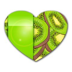 Fruit Slice Kiwi Green Heart Mousepads by Mariart