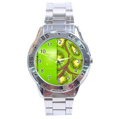 Fruit Slice Kiwi Green Stainless Steel Analogue Watch by Mariart