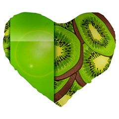 Fruit Slice Kiwi Green Large 19  Premium Heart Shape Cushions by Mariart