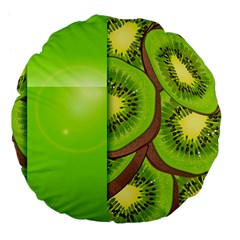Fruit Slice Kiwi Green Large 18  Premium Flano Round Cushions by Mariart