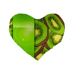 Fruit Slice Kiwi Green Standard 16  Premium Flano Heart Shape Cushions by Mariart