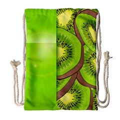 Fruit Slice Kiwi Green Drawstring Bag (large) by Mariart