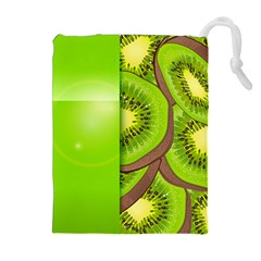 Fruit Slice Kiwi Green Drawstring Pouches (extra Large) by Mariart