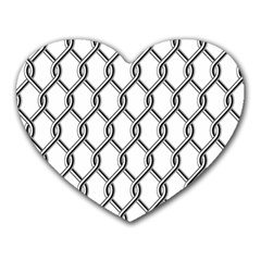 Iron Wire Black White Heart Mousepads by Mariart