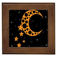 Moon Star Space Orange Black Light Night Circle Polka Framed Tiles by Mariart