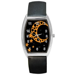 Moon Star Space Orange Black Light Night Circle Polka Barrel Style Metal Watch by Mariart