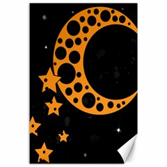 Moon Star Space Orange Black Light Night Circle Polka Canvas 24  X 36  by Mariart