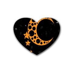 Moon Star Space Orange Black Light Night Circle Polka Heart Coaster (4 Pack)  by Mariart